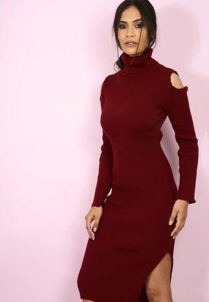 Roll Neck Jumper Dress Knit Wine