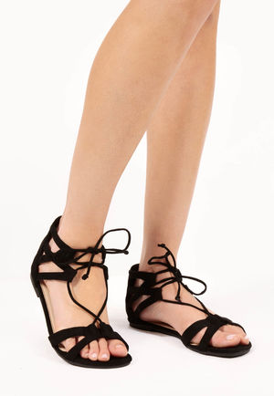 Cia Black Strappy Gladiator Sandals