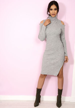 Roll Neck Jumper Dress Knit Grey