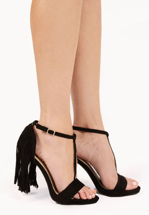 Keli Black Suede Tassel High Heels