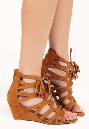 Moni Tan Faux Suede Lace Up Sandals