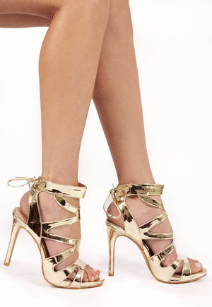Adeline Gold Metallic Tie Up Heels
