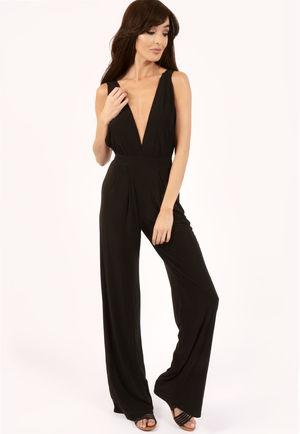 Carli Black Cross Back Slinky Jumpsuit