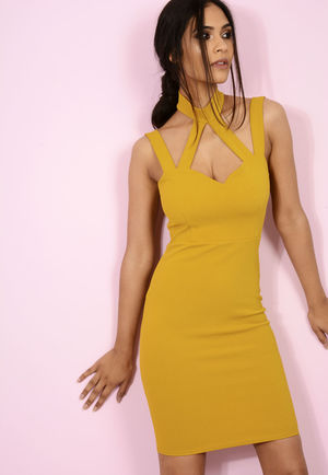 Jenni Choker Cross Bodycon Mustard