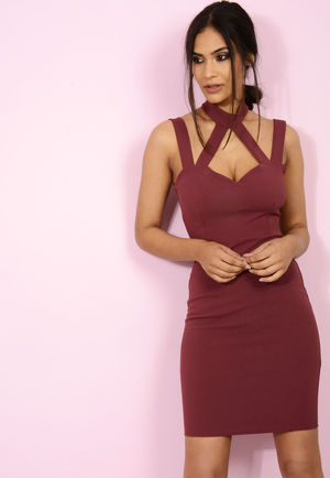 Jenni Choker Cross Bodycon Wine