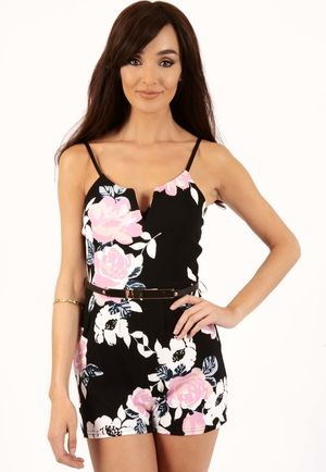 Keira Black Floral Belted Playsuit