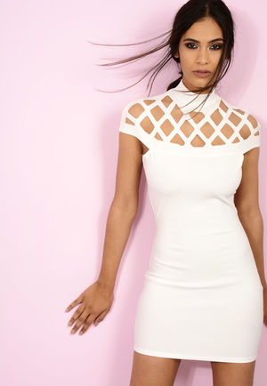 Caged Shoulder Dress White