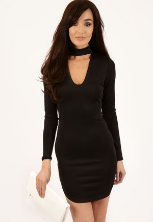 Megan Black Choker Neck Detail Dress
