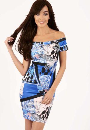 Yazmin Blue Floral Bardot Dress