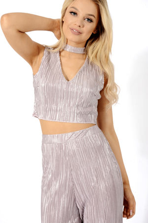 Grey Pleated Choker Top And Trouser Co-Ord