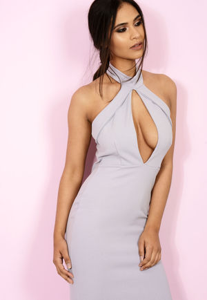 High Neck Cut Out Midi Dress Lilac