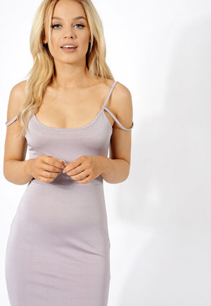 Double Strap Slinky Midi Dress Grey