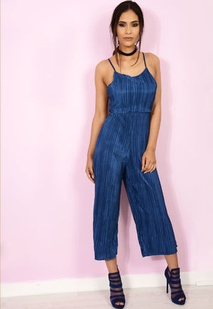 Navy Pleated Culotte Jumpsuit