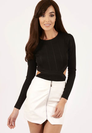 Jane Front Zip PU Mini Skirt White