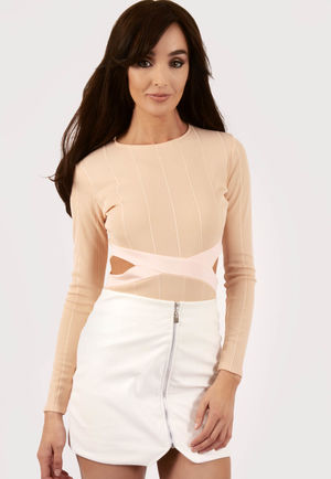 Kresh Nude Ribbed Cut Out Bodysuit