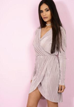 Lilly Lilac Metallic Wrap Dress