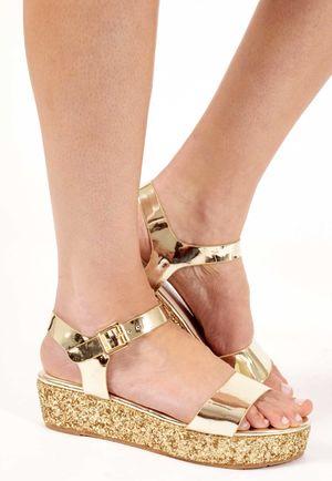 Darcia Gold Glitter Platform Sandals