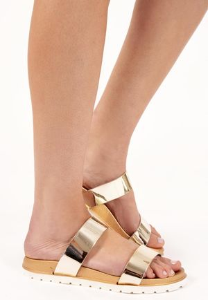Sofia Gold Patent Double Strap Sandals