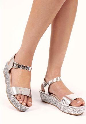 Darcia Silver Glitter Platform Sandals