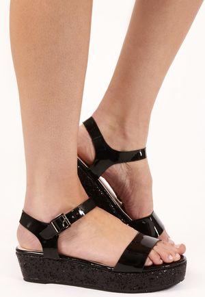 Darcia Black Glitter Platform Sandals