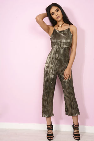 Cullotte Pleated Metallic Black/Gold Jumpsuit