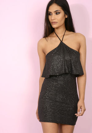 Honey Halter Mini Dress Black