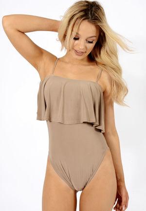 Aliza Camel Frill Bodysuit