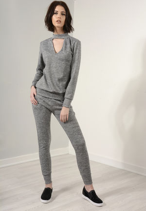 Bella Grey Choker Neck Loungewear Set