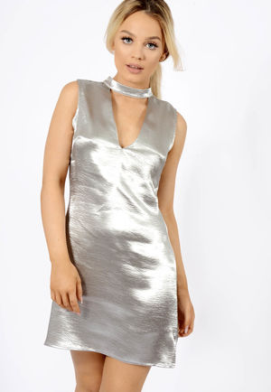 Satin Plunge Choker Detail Dress Silver