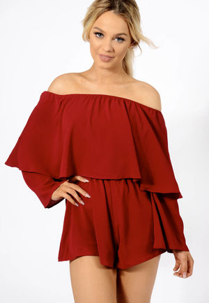 Bardot Frill Playsuit Wine