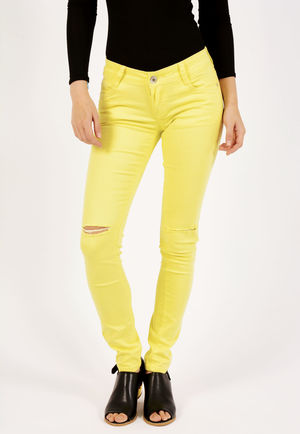 Sarae Yellow Rip Knee Super Soft Skinny Jeans