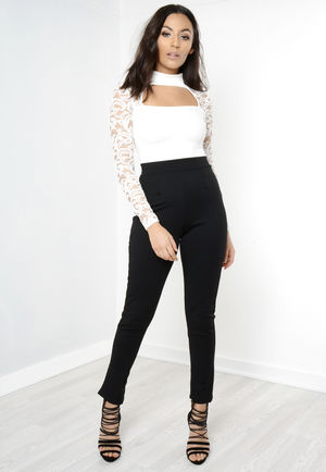White And Black Lace Detail Caged Jumpsuit