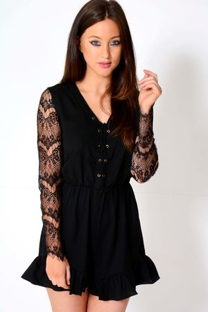 Michelle Black Laceup Lace Detail Playsuit