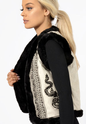 Embroidered Fur Gilet Black & Cream