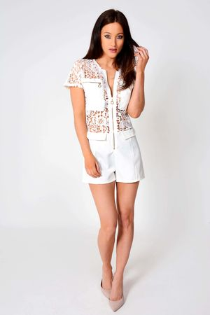 Susie White Zip Up Lace Playsuit