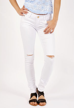 Gloria White Multi Rip High Waisted Jeans