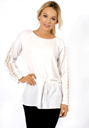 Sami Tie Waist Sleeve Lace Detail Blouse White