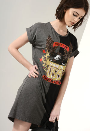 Jordan Charcoal Grey and Black Printed T-Shirt Dress