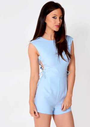 Camila Blue Side Lace Up Detail Playsuit