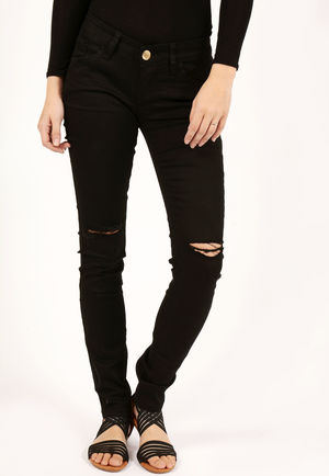 Louis Black Rip Knee Super Soft Skinny Jeans