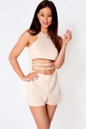 Misha Nude Mid Cross Out Playsuit