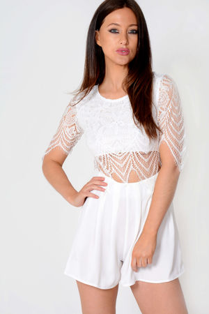 Jardin White Lace Top Playsuit