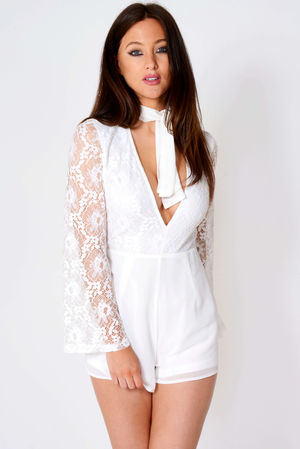 China White Lace Neck Tie Playsuit