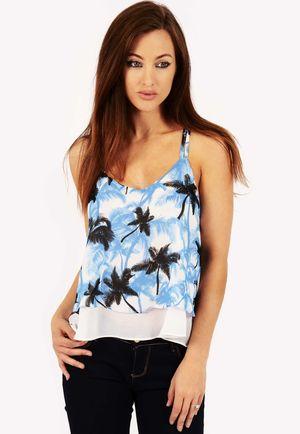 Miley Blue Tropical Print Crop Top