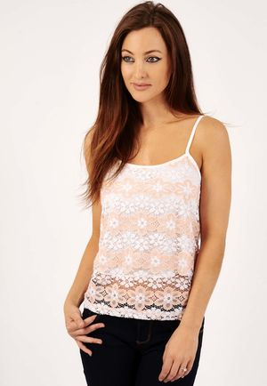 Charlotte Peach Crochet Floral Cami Top