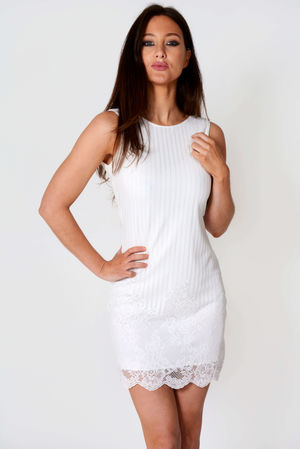 Rosie White Ribbed Mesh Mini Dress