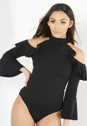 Black Frilled Cold Shoulder Bodysuit