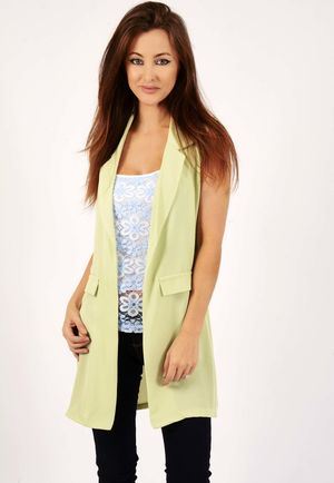 Kellie Sleeveless Tailored Lime Green Jacket