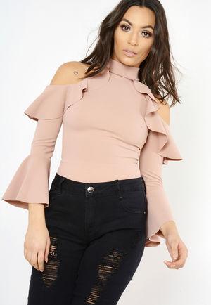 Rose Frilled Cold Shoulder Bodysuit