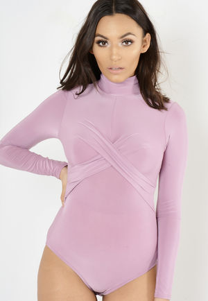 Rose High Neck Long Sleeve Bodysuit